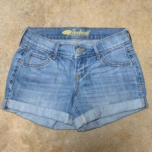 Boyfriend Jean Shorts Cuffed Hem Light Wash Petite